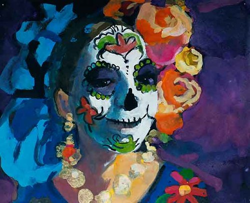 Woman with Roses, Day of the Dead, Mexico, Gouache on paper, 23x29cm