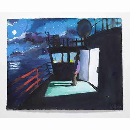 Self Portrait on the Deck of the Aurora Australis by Moonlight 2012, Gouache 38cm x 47cm