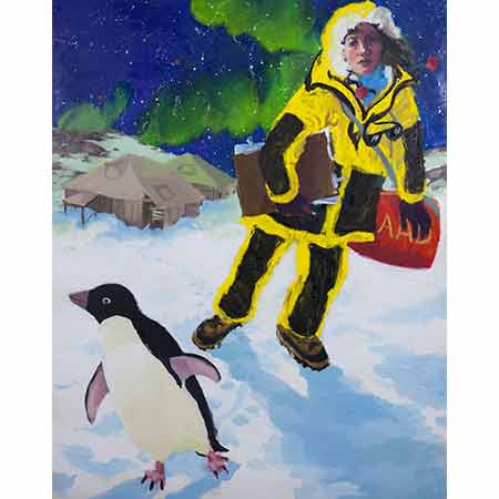 Self Portrait in Antarctica with Penguin and Mawson's Huts 2012, Oil on linen 213cm x 116cm