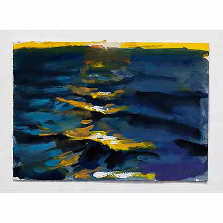 Yellow Light on the Sea 2012, Gouache 16cm x 22cm