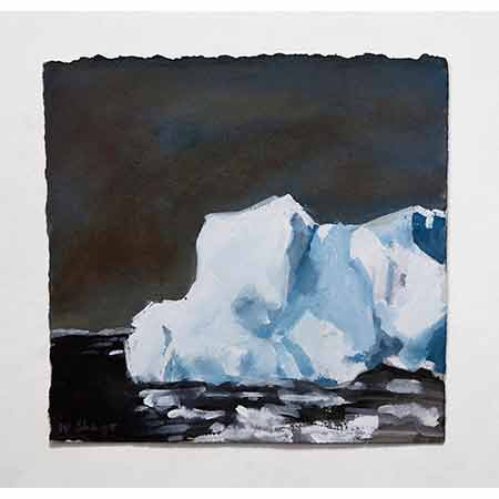 Ice Berg with Black Sea 2012, Gouache 19cm x 19cm