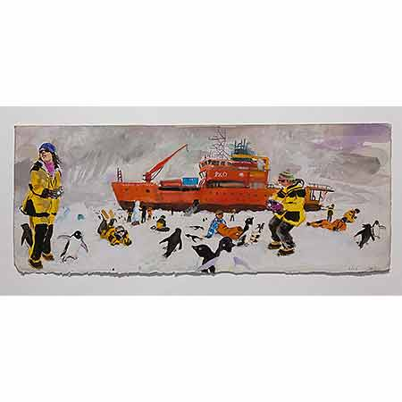 People and Penguins on the Sea Ice 2012, Gouache 25cm x 63cm