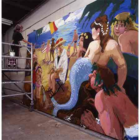 The set of murals portray highlights from the career of Australian swimming sensation Annette Kellerman (1886-1975) Photograph Joseph Lafferty.