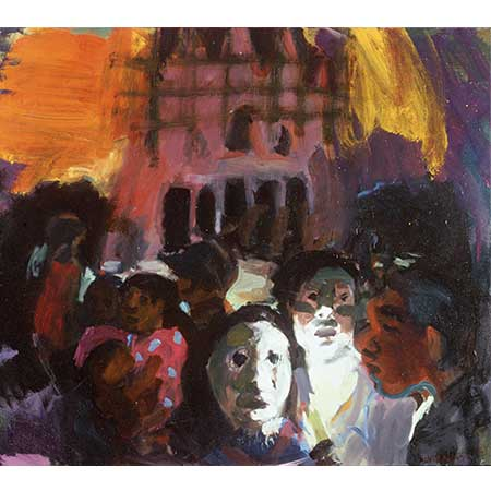 Midnight at Suai Cathedral, 2000, Oil on canvas 122 x 137cm. On Christmas Eve Sharpe went to a mass at Suai Cathedral. The cathedral was the site of a massacre a few months before, the local people had gathered there thinking that it would be safe as it was a holy place and instead they were massacred. At the mass the survivors re-enacted the massacre, they acted out the killing of the nuns and priests, the burning of the houses, and the Interfet coming in as heroes to chase away the militia.