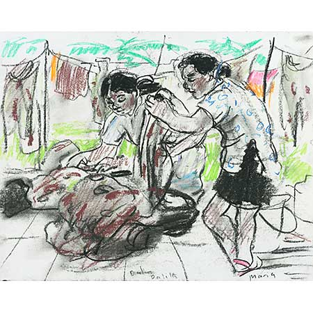 Dalila & Maria washing clothes, Dili, East Timor. Gouache & pencil on paper, 39 x 55cm.