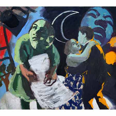 Artist with Couple and Paper Moon 2006 Oil on canvas 122cm x 136cm