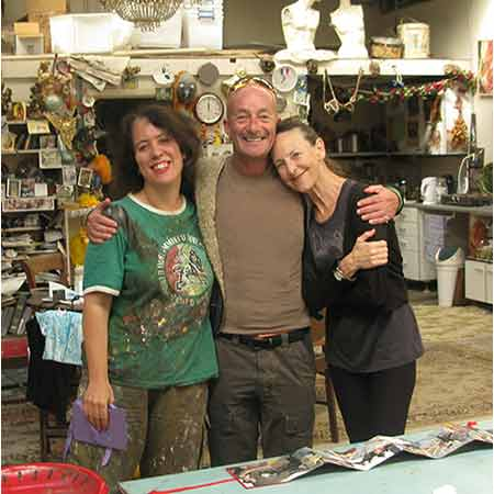 Visiting the studio, Graeme Murphy AO with dancer and creative associate Janet Vernon in 2009. Murphy had recently choreographed a new production of The Firebird, a ballet that tells of a spell cast by an ogre whose soul lives in an egg. Murphy's ballet was a tribute to the Ballets Russes, the company founded and directed by Serge Diaghilev, who first brought his troupe from St Petersburg to Paris in 1909. The Ballets Russes' Firebird premiered a year later, in 1910. As part of the 100year Ballets Russes celebration Wendy Sharpe drew and painted The Australian Ballet in the new Murphy production.