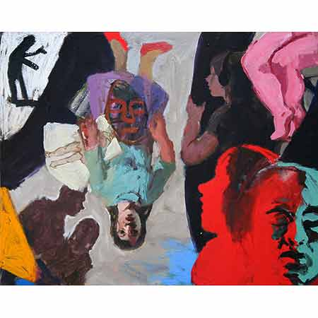 Back Stage Artist - Upside Down 2006 Oil on canvas 122cm x 136cm Collection: The Arts Centre Victoria.