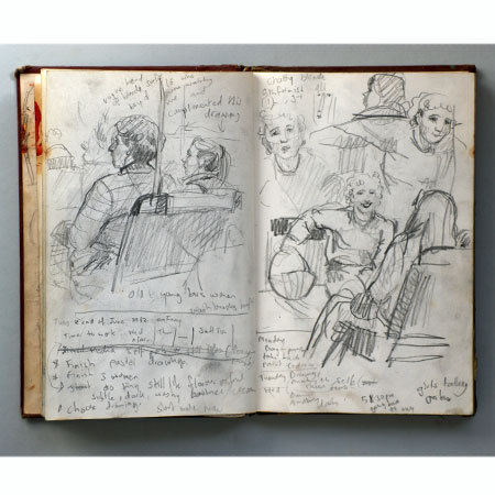 Drawings made on bus and ferry, Sydney 1982