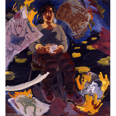 Self Portrait with Tea Cup and Burning Paintings 2003 Oil on canvas 167cm x 137cm Private Collection (Winner of The Portia Geach Memorial Award 2003
