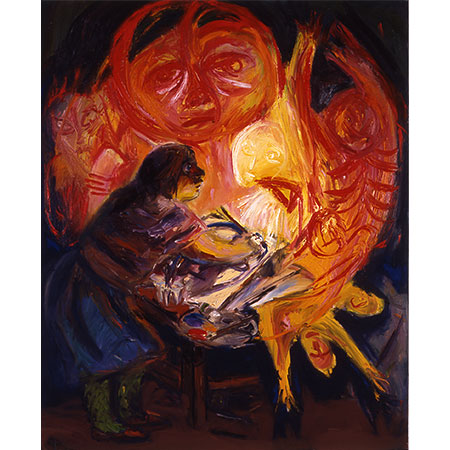 Lamp Light 1991 Oil on canvas 152cm x 137cm Collection of Orange Regional Gallery