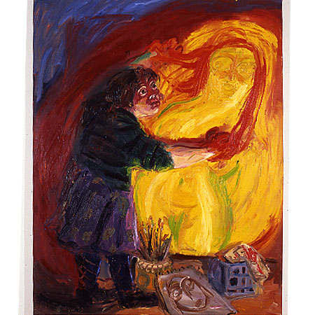 Self Portrait - Red Hands 1990 Oil on canvas 213cm x166cm Artist's Collection
